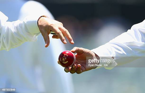 The Kookaburra ball is seen during day four of the second Test match between Australia and New Zealand at WACA on November 16 2015 in Perth Australia