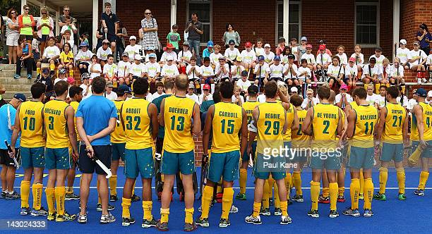 The Kookaburras are introduced to junior players during an Australian Kookaburras training session at Shenton Park on April 18 2012 in Perth Australia