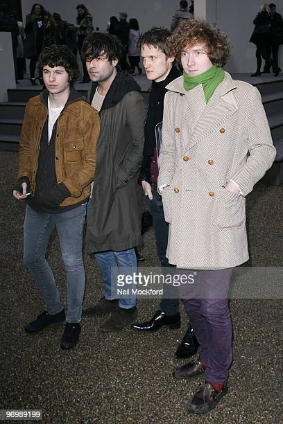 The Kooks arrive for the Burberry Prorsum show at London Fashion Week Autumn/Winter 2010 at on February 23 2010 in London England