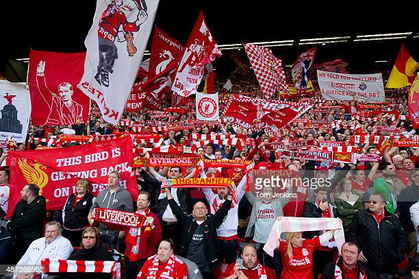 The Kop sing 'You'll Never Walk Alone' just before the Liverpool versus Chelsea Barclays FA Premier League match at Anfield on April 27th 2014 in...