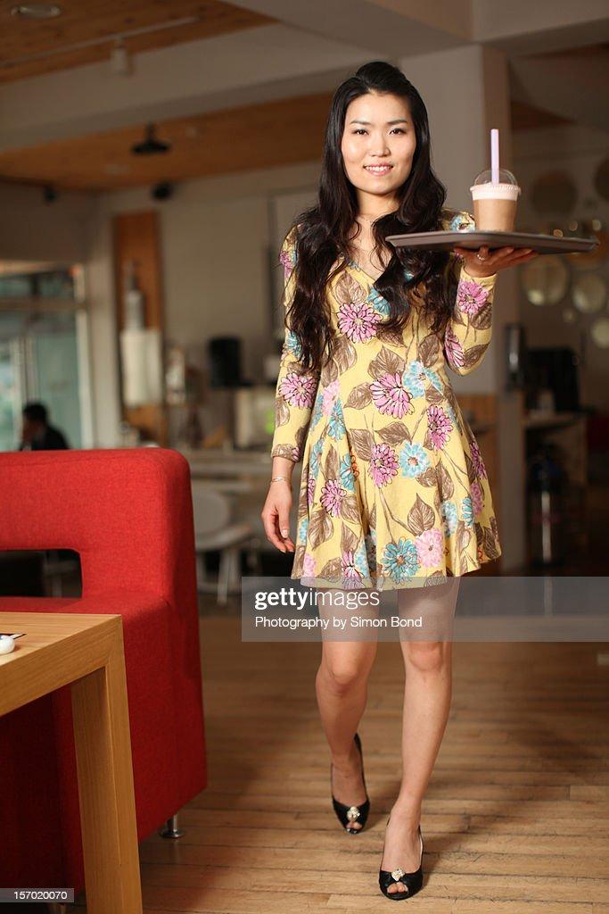 The Korean waitress : Stock Photo