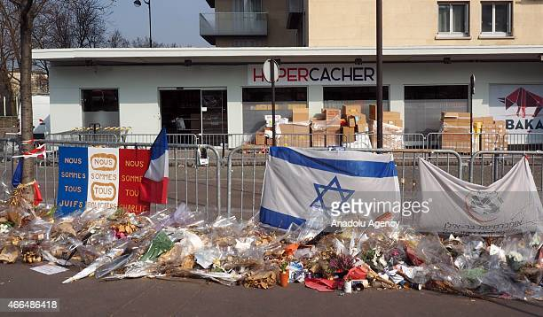 The Kosher supermarket targeted after Januarys attacks on the satirical newspaper Charlie Hebdo left four people died is reopened on March 162015 in...