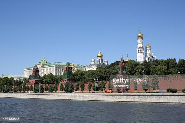 The Kremlin building stands on the banks of the Moscow river in Moscow Russia on Monday June 8 2015 Rents in Moscow's most coveted neighborhoods are...