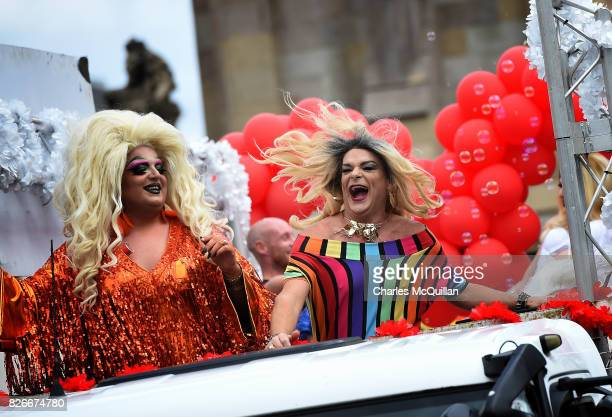 The Kremlin club float and it's drag queens are pictured as Belfast Gay Pride takes place on August 5 2017 in Belfast Northern Ireland The province...
