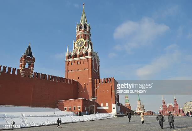 The Kremlin wall and towers dominate the skyline at the Red Square in Moscow on March 2 2012 Russia on March 4 votes in presidential elections...
