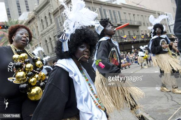 The Krewe of Zulu turns onto Canal Street from St Charles Avenue during the Mardi Gras parade on Fat Tuesday in New Orleans Louisiana on March 8 2011...