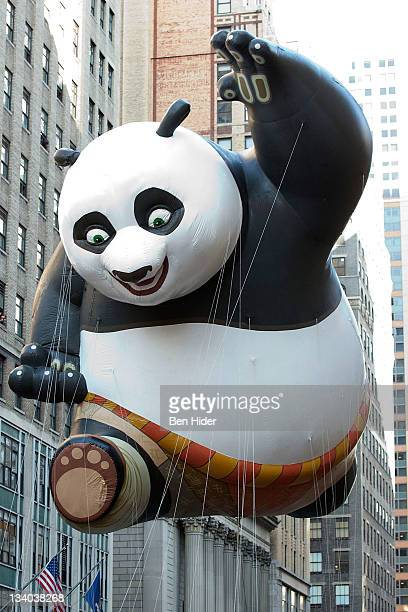 The Kung Fu Panda balloon floats in Macy's Legendary Thanksgiving Day Parade on November 24 2011 in New York City