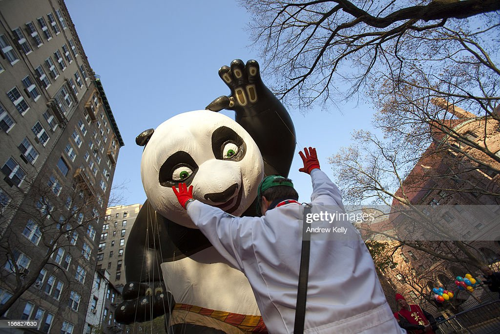 The Kung Fu Panda balloon is lifted before the 86th Annual Macy's Thanksgiving Day Parade November 22, 2012 in New York City. Macy's donated tickets and transportation to this year's Thanksgiving Day Parade to 5,000 people from neighborhoods hardest hit by Superstorm Sandy.