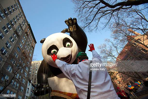 The Kung Fu Panda balloon is lifted before the 86th Annual Macy's Thanksgiving Day Parade November 22 2012 in New York City Macy's donated tickets...