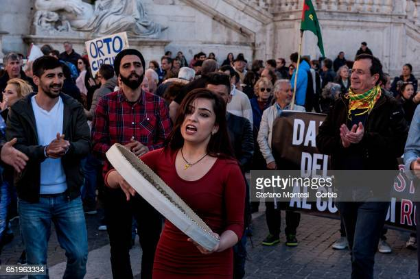 The kurds of the center social Ararat during a protest where Hundreds of protesters of associations and nonprofit organization that plays a key...