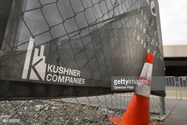 The Kushner family name is displayed on advertising at the One Journal Square project in Jersey City on May 9 2017 in Jersey City New Jersey It has...