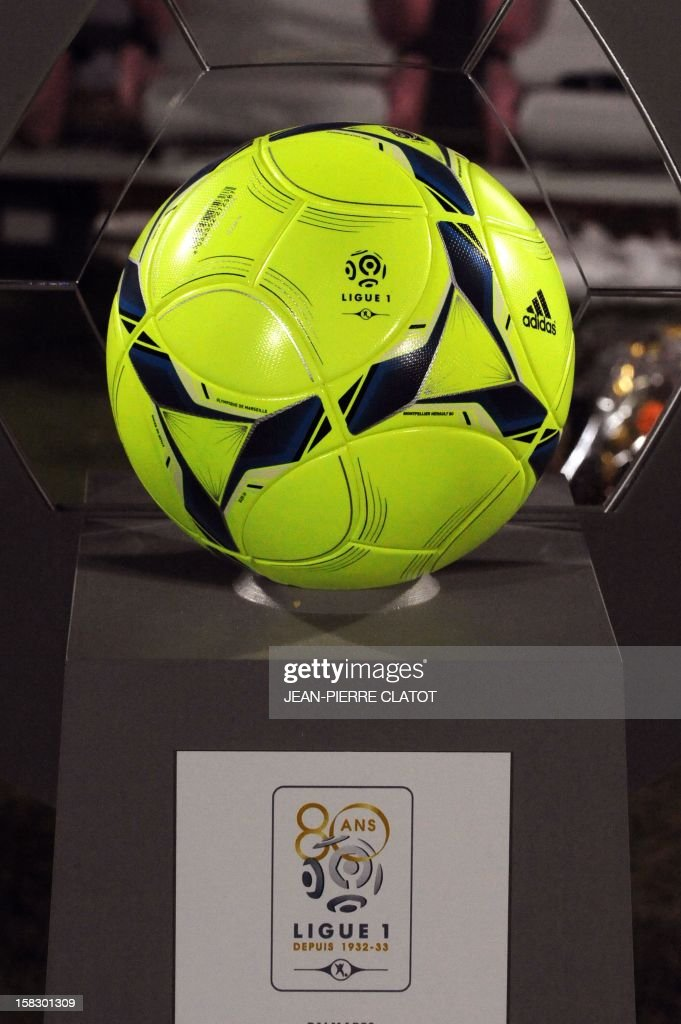 The L1 new ball is displayed during their French L1 football match Evian (ETGFC) vs Troyes (ESTAC) on December 12, 2012 at the city stadium Parc des sports in Annecy, eastern France.