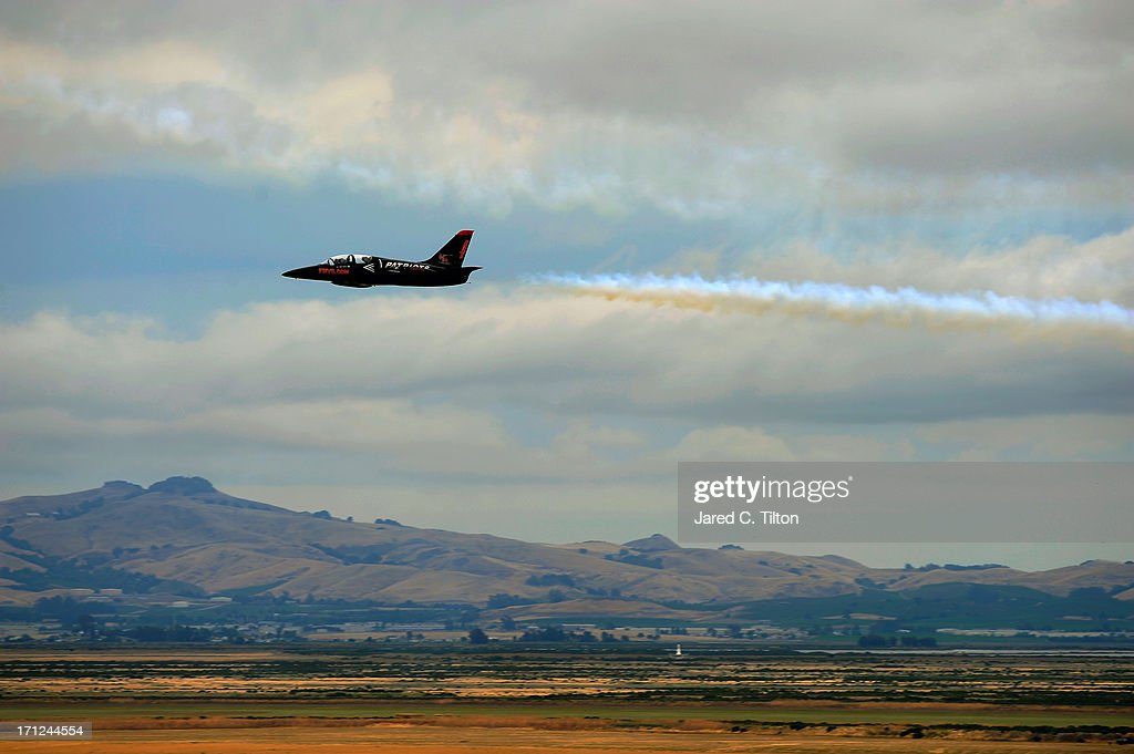 The L-39s from the Patriot Jet Demonstration Team, perform a fly over during pre-race ceremonies for the NASCAR Sprint Cup Series Toyota/Save Mart 350 at Sonoma Raceway on June 23, 2013 in Sonoma, California.
