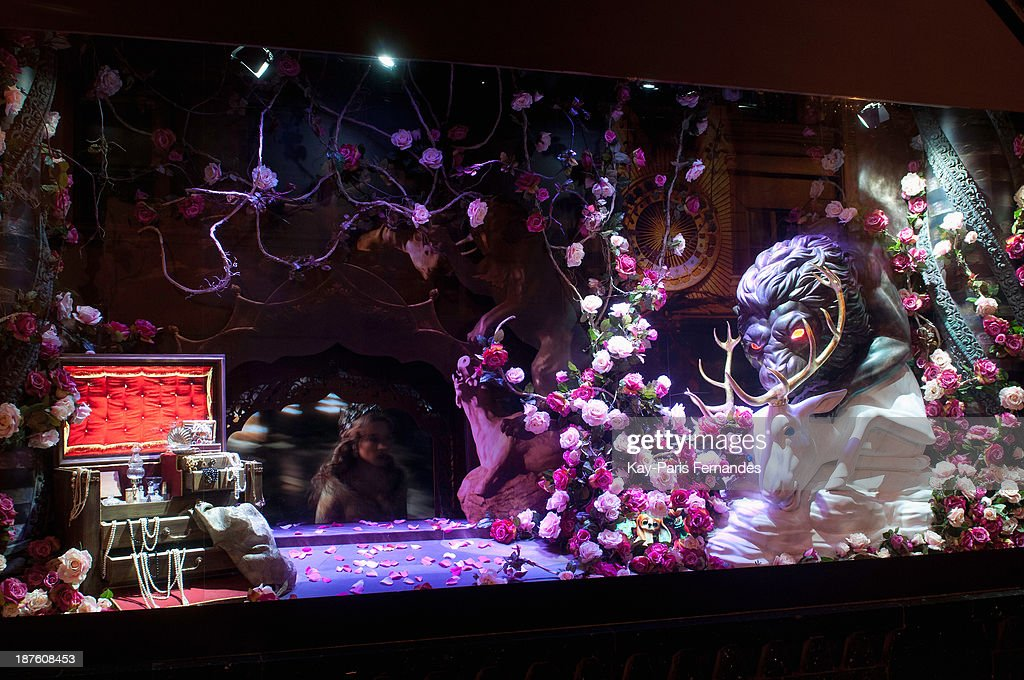 The 'La belle et la bete' Christmas window at Galeries Lafayette on November 10, 2013 in Paris, France.