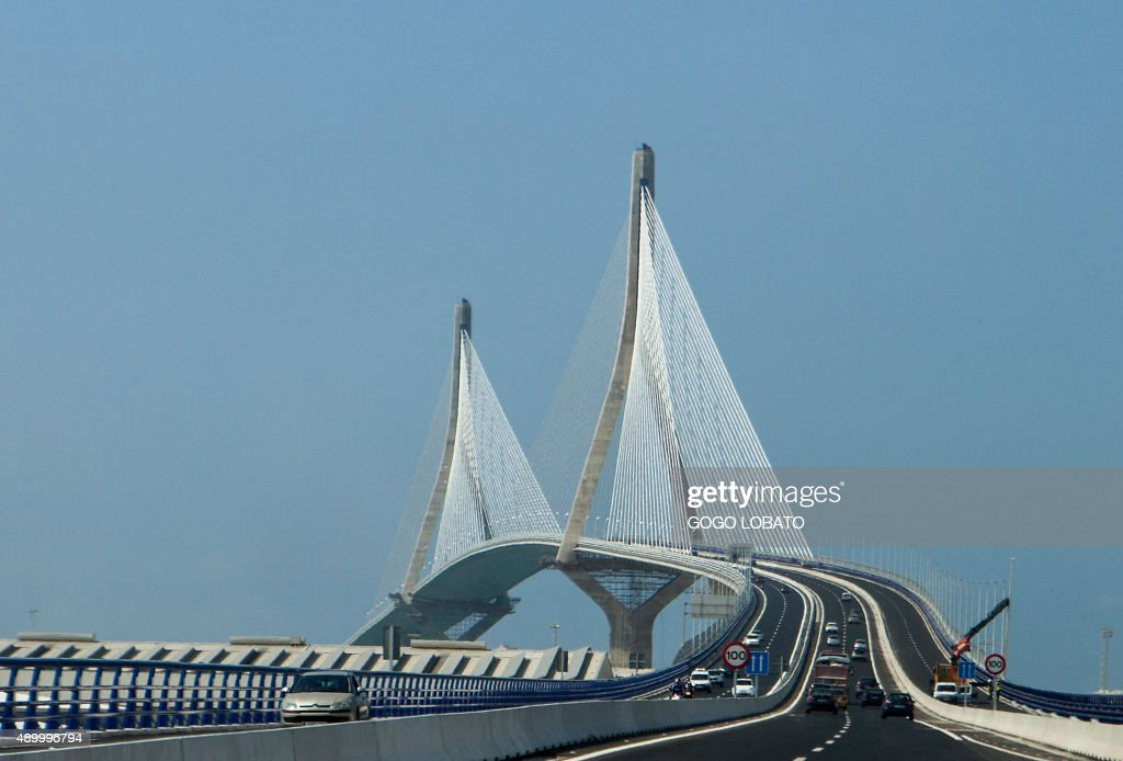 The 'La Pepa' bridge or the Constitution of 1812 bridge a suspension construction that crosses the bay of Cadiz is pictured on its second day open to...