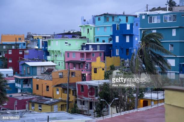 The La Perla neighborhood in Old San Juan as residents prepare for a direct hit from Hurricane Maria on September 19 2017 in San Juan Puerto Rico...