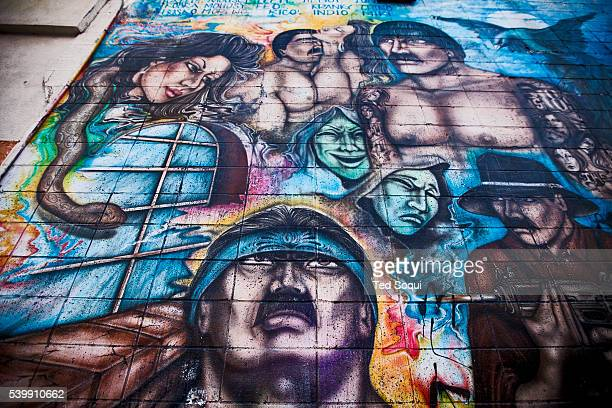 The 'La Vida Loca' mural painted on the side of a donut shop in the Westlake area of Los Angeles is a tribute to Los Angeles' most powerful and...