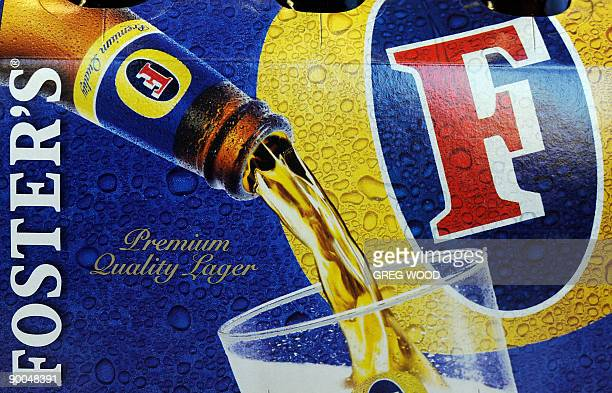 The label of a sixpack of Fosters lager bottles is displayed in Sydney on August 25 2009 as the company announces a four percent rise in annual net...