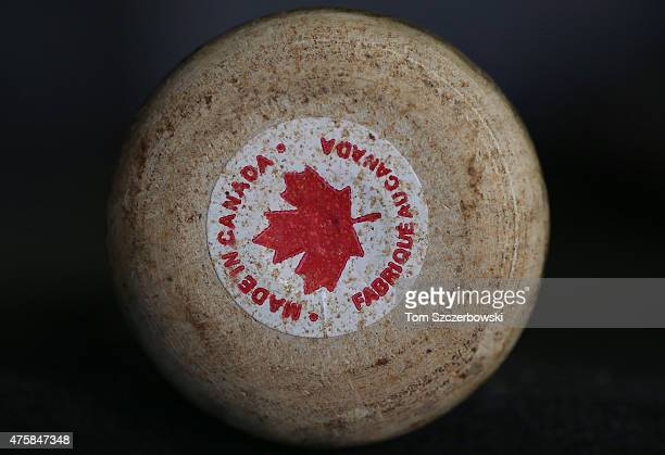 The label on the knob of a Sambat bat made in Canada before the Toronto Blue Jays MLB game against the Los Angeles Angels of Anaheim on May 21 2015...