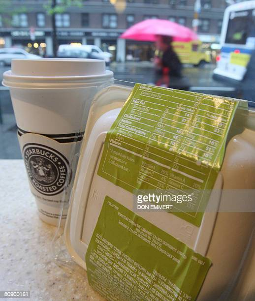 STORY 'USHEALTHFOODRESTAURANTSOBESITY' The label on the packaging of a Starbucks sandwich shows its nutritional value on April 28 2008 in New York...
