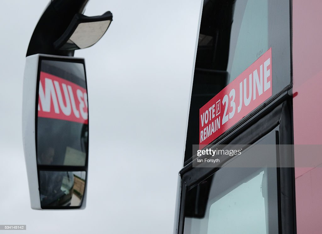 The Labour In battle bus is parked outside the Hitachi Rail Europe site during a visit by Alan Johnson MP who is chair of the Labour In for Britain campaign on May 25, 2016 in Newton Aycliffe, England. The Labour In for Britain battle bus will make several trips to the north east region as it tours the area ahead of the EU referendum on June 23.