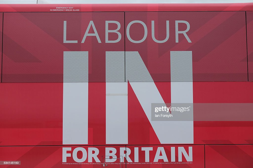 The Labour In for Britain battle bus is parked outside the Hitachi Rail Europe site during a visit by Alan Johnson MP who is chair of the Labour In for Britain campaign on May 25, 2016 in Newton Aycliffe, England. The Labour In for Britain battle bus will make several trips to the north east region as it tours the area ahead of the EU referendum on June 23.