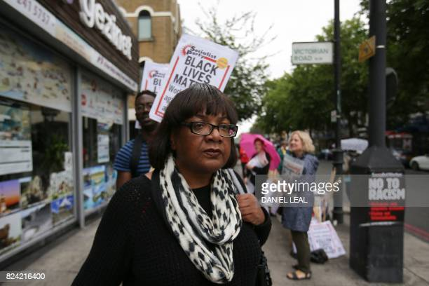 The Labour Party's Shadow Home Secretary Diane Abbott member of parliament for Hackney North and Stoke Newington is seen at a vigil and protest for...