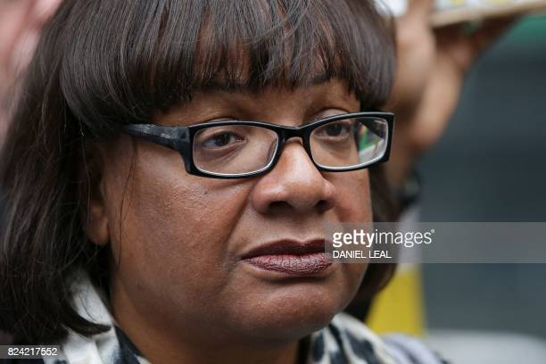 The Labour Party's Shadow Home Secretary Diane Abbott member of parliament for Hackney North and Stoke Newington attends a vigil and protest for...