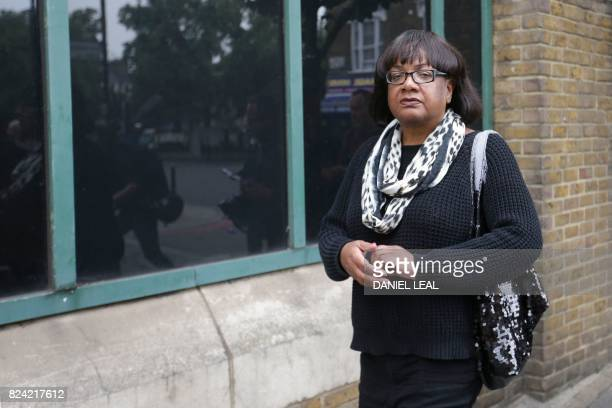 The Labour Party's Shadow Home Secretary Diane Abbott member of parliament for Hackney North and Stoke Newington leaves a vigil and protest for...