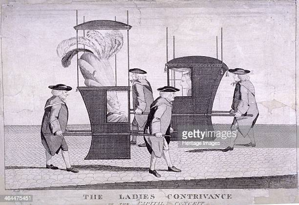 'The Ladies Contrivance' 1777 Two sedan chairs pass on the cobbled street the nearer one has been specially enlarged to accommodate a woman sporting...