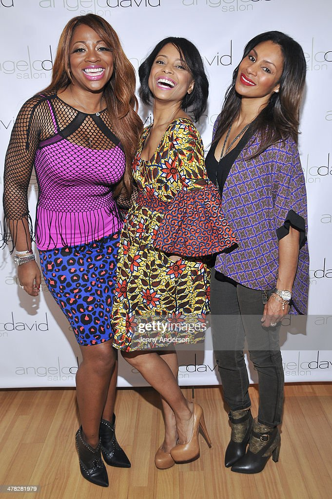 The ladies of OWN's 'Love in the City' Bershan Shaw, Tiffany Jones and Chenoa Maxwell attend Aviva Drescher's 'Leggy Blonde' book launch celebration at Angelo David Salon on March 12, 2014 in New York City.