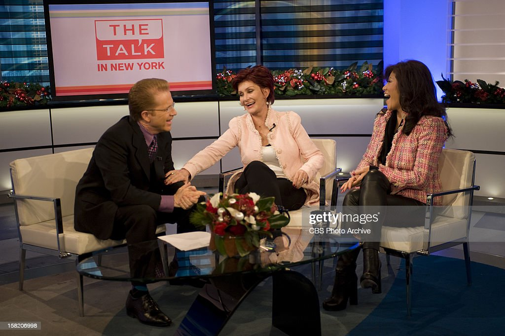 The ladies of The Talk stop by the set of WCBS-TV on Monday, December 10, 2012 on the CBS Television Network. John Elliott, from left, Sharon Osbourne and Julie Chen, shown.