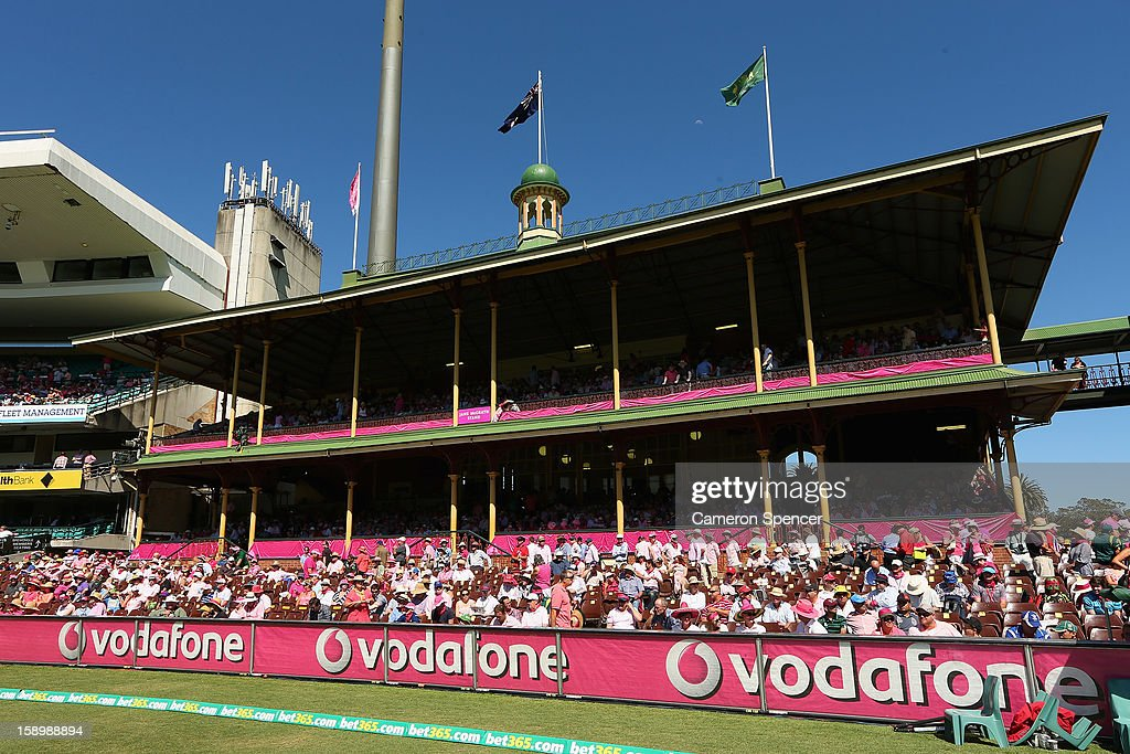 The Ladies Pavilion is seen decorated in pink on Jane McGrath Pink Day during day three of the Third Test match between Australia and Sri Lanka at Sydney Cricket Ground on January 5, 2013 in Sydney, Australia.