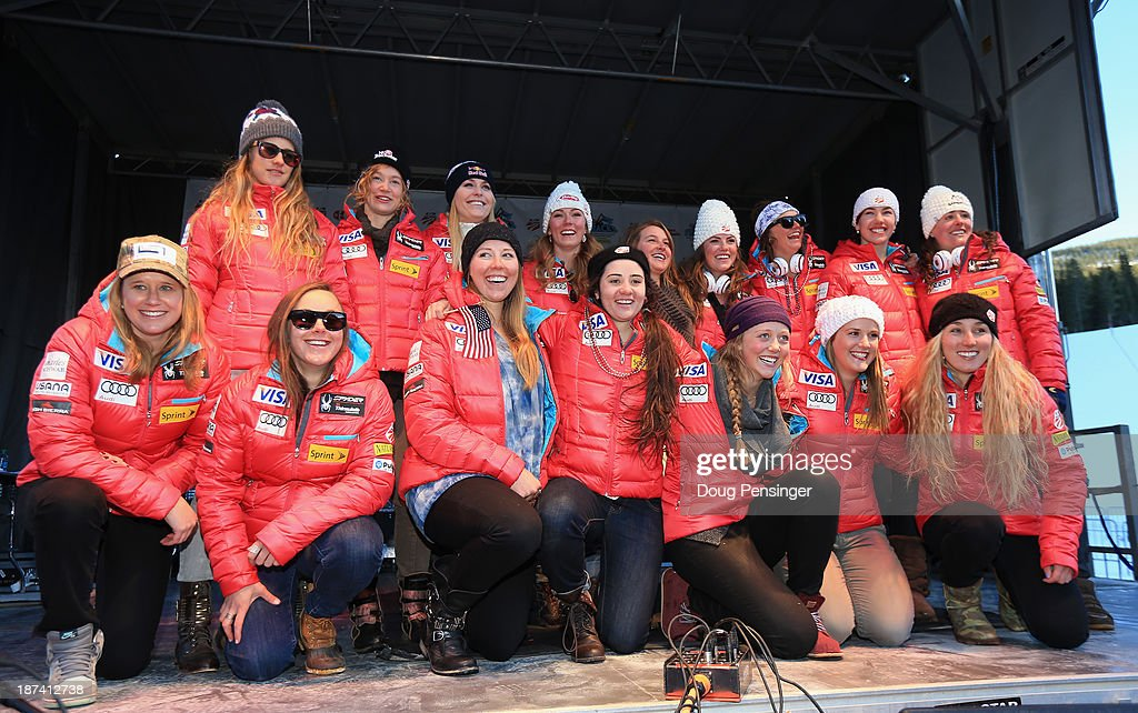 The Ladies U.S. Alpine Ski Team poses for a photograph during the team announcement and pep rally at Copper Mountain on November 8, 2013 in Copper Mountain, Colorado.