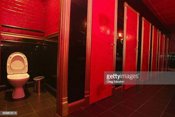 The ladies/men's restroom in First club on September 8 2005 in Moscow Russia