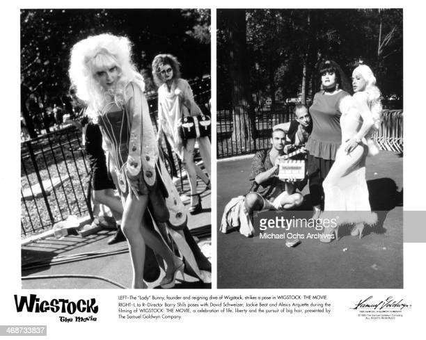 The 'Lady' Bunny founder of Wigstock on set Director Barry Shils David Schweizer Jackie Beat and Alexis Arquette on set of the Samuel Goldwyn Company...