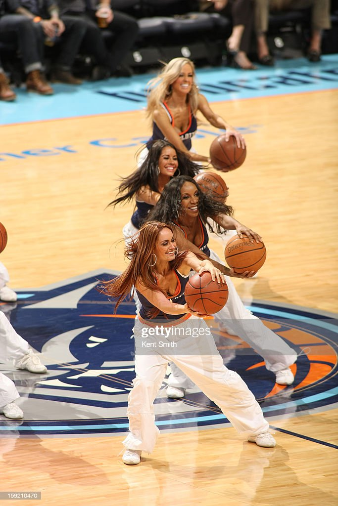 The Lady Cats, cheerleaders of the Charlotte Bobcats during the game against the Utah Jazz at the Time Warner Cable Arena on January 9, 2013 in Charlotte, North Carolina.