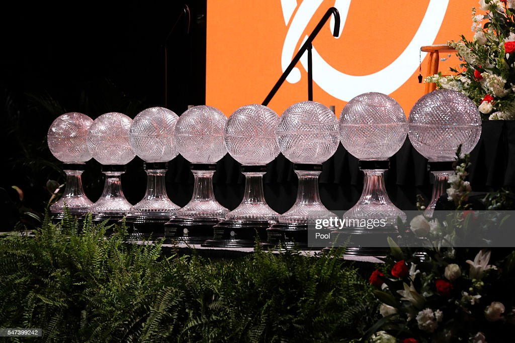 The Lady Vols' eight basketball national championship trophies on stage at the Pat Summitt Celebration of Life at ThompsonBoling Arena on July 14...