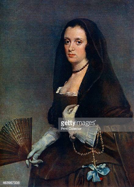'The Lady with a Fan' c16301650 A colour print from Famous Paintings with an introduction by Gilbert Chesterton Cassell and Company