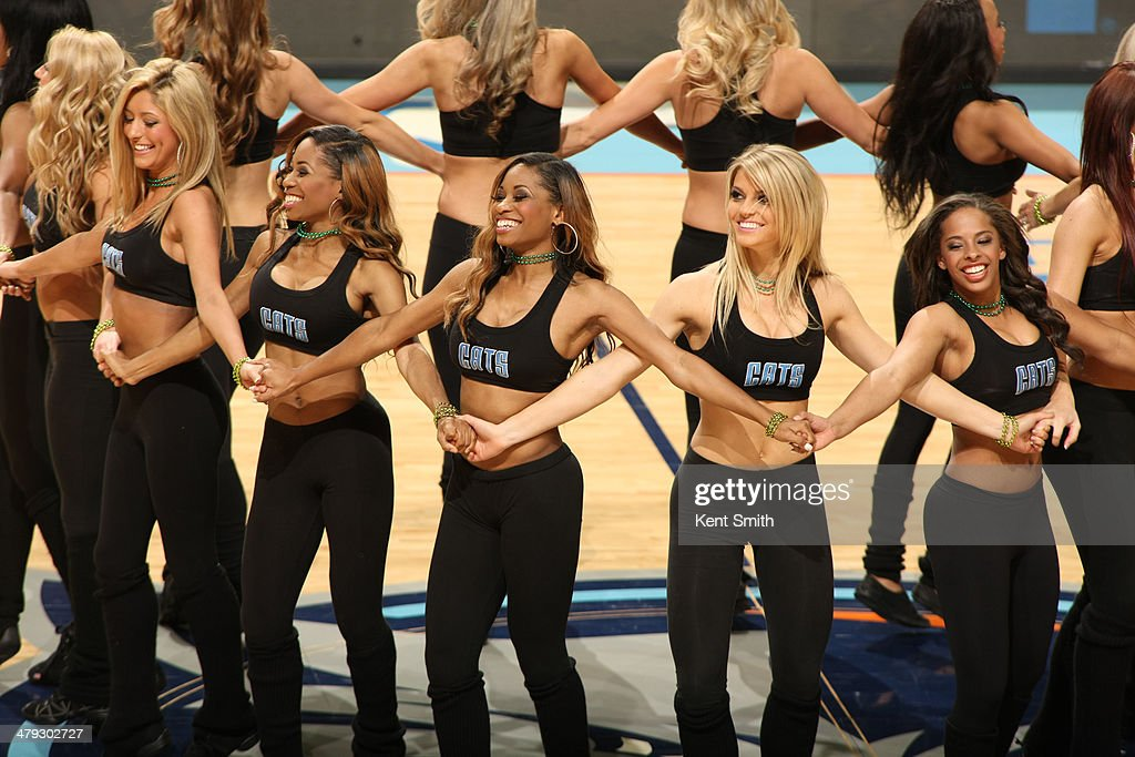 The LadyCats of the Charlotte Bobcats do some Irish Celtic dancing during the game against the Atlanta Hawks at the Time Warner Cable Arena on March 17, 2014 in Charlotte, North Carolina.