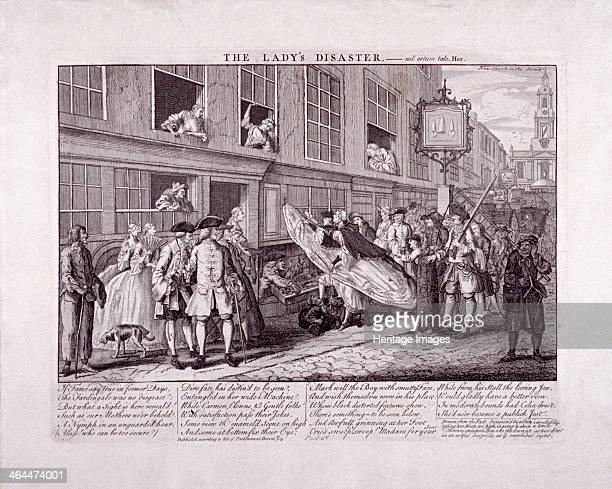 'The lady's disaster' 1747 the hoop of a woman's skirt has caught on a hook high up in a wall and a small sweep boy lies on the ground looking under...