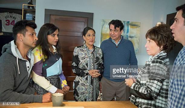 PROJECT 'The Lahiris and the Castellanos' Episode 411 Pictured Utkarsh Ambudkar as Rishi Lahiri Mindy Kaling as Mindy Lahiri Sakina Jaffrey as Sonu...
