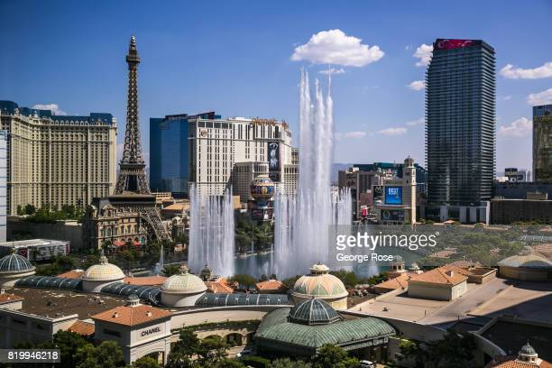 The lake and water fountain show at the Bellagio Hotel Casino located at the corner of Flamingo Road and Las Vegas Blvd is viewed from Caesars Palace...