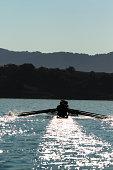 The Lake Casitas Men's Rowing Team works on some drills at Lake Casitas in Ojai, California.