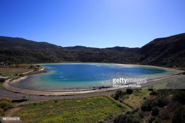 The lake of Venus located in the crater of an ancient volcano Island of Pantelleria January 2016