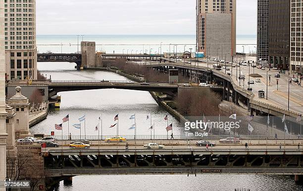 The Lake Shore Drive Columbus Drive and Michigan Avenue doubleleaf trunnion bascule bridges top to bottom are seen over the Chicago River April 3...