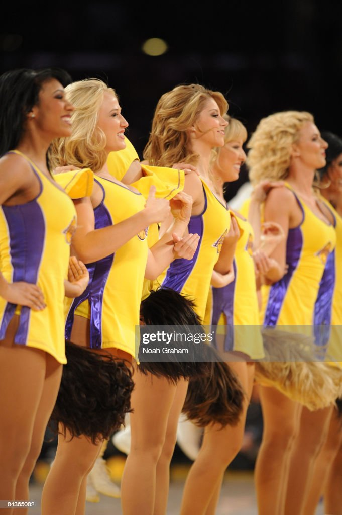 The Laker Girls perform during a break in the action of a game between the Cleveland Cavaliers and the Los Angeles Lakers at Staples Center on...