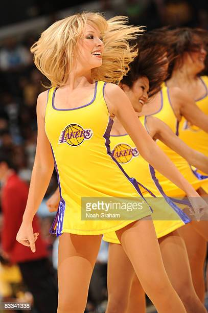 The Laker Girls perform during a break in the action of the game against Regal FC Barcelona at Staples Center on October 18 2008 in Los Angeles...
