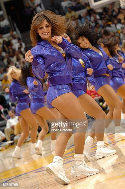 The Laker Girls perform during the game between the San Antonio Spurs against the Los Angeles Lakers on April 13 2008 at Staples Center in Los...