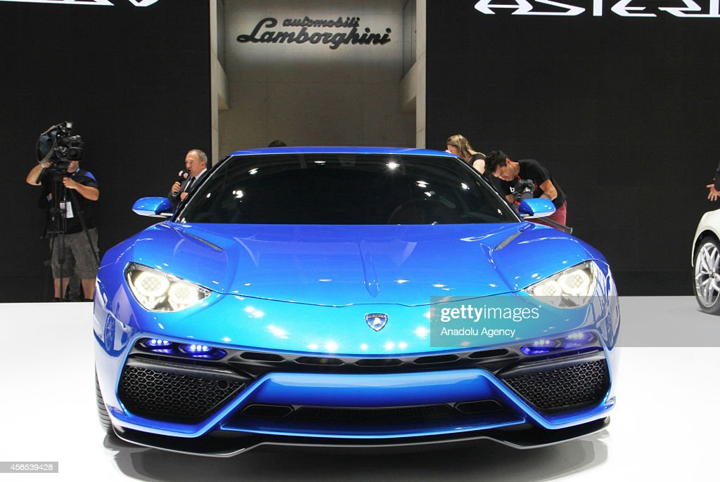 The Lamborghini Asterion LPI 9104 by German automaker Lamborghini is presented during the Paris Motor Show 'Mondial de l'Automobile' in Paris France...